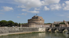 Rome Skyline Italy Castel Sant'Angelo Tourists Visiting Tiber River Tevere Sunny Stock Footage