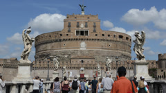 Rome Skyline Italy, Castel Sant'Angelo Tourists Visiting Passing People Walking Stock Footage