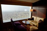 Stock Photo of interior of the luxury hotel with a view on dubai city, uae