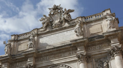 Largest Baroque Trevi Fountain Rome City Most famous in the World Italian Iconic Stock Footage