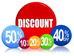 discount and different percentages in color circles - stock illustration