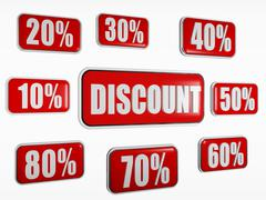 Discount and different percentages in red banners Stock Illustration