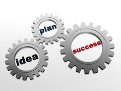 idea, plan, success in grey gear-wheels - stock illustration