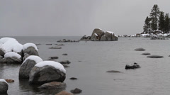 Snowy mountain lake and rocks, natural sound Stock Footage