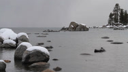 Stock Video Footage of Snowy mountain lake and rocks, natural sound