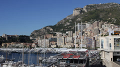 Principality Monaco Ville City Skyline La Condamine Harbor Famous Port Hercules Stock Footage