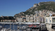 Stock Video Footage of Principality of Monaco Skyline, La Condamine, Famous Monaco-Ville, Port Hercules