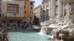 Tourists People Crowd Visiting Iconic Baroque Trevi Fountain Fontana Rome Italy Stock Footage