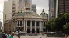Municipal theater Rio de janeiro Stock Footage