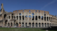 Tourists Visiting Famous Italian Landmark Colosseum Rome Italy Establishing Shot Stock Footage