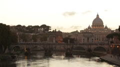 St. Peter's Basilica Vatican, Rome Skyline Tiber River Tevere Ponte Sant Angelo Stock Footage