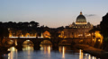 St. Peter's Basilica, Rome Skyline Tiber River Sant Angelo Bridge, Sunset Dusk Footage