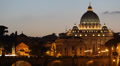 St. Peter's Basilica Vatican, Rome Skyline Ponte Sant Angelo Bridge Dusk Night Footage