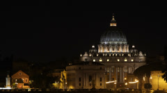 Establishing Shot Rome Skyline Illuminated Night Peter Basilica Landmark Vatican Stock Footage