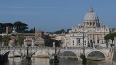 St. Peter's Basilica, Rome Skyline, Ponte Sant Angelo Bridge, Sunny Day Blue Sky Stock Footage