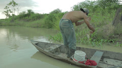 Fisherman-Empty-Net-Amazon-People-Lifestyle Stock Footage
