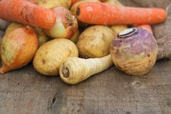Stock Photo of winter seasonal vegetables collection