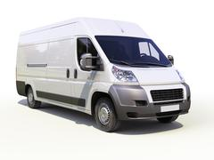 white commercial delivery van - stock illustration