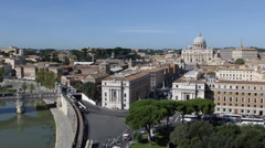 Establishing Shot Rome Skyline Aerial View Commuters Commute Vatican Church Day Stock Footage
