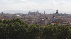 Aerial View Rome Skyline Vittorio Emanuele II Altar Fatherland Houses Roofs Day Stock Footage