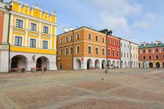 town hall, main square (rynek wielki), zamosc, poland - stock photo