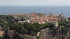 Panoramic Aerial View Monaco Chateau Grimaldi Cathedral Oceanography Museum Day Stock Footage