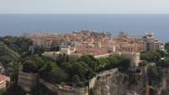 Stock Video Footage of Panoramic Aerial View Monaco Chateau Grimaldi Cathedral Oceanography Museum day
