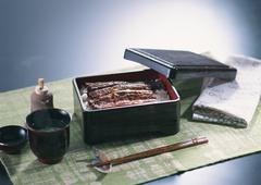 Broiled Eel on Rice, Served in Lacquered Box and Clean Soup Stock Photos
