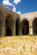 Multiple arches and columns in the caravansary on the silk road, turkey Stock Photos
