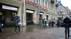 Pedestrians on the Nevsky Prospekt in St. Petersburg Stock Footage