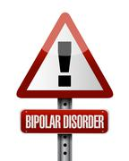 bipolar disorder warning road sign illustration - stock illustration