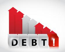 Debt increasing business graph falling Stock Illustration
