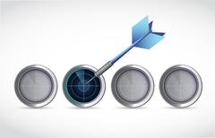 hitting the right target. illustration - stock illustration