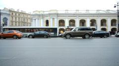 St. Petersburg, Russia, Nevsky Prospect traffic Stock Footage