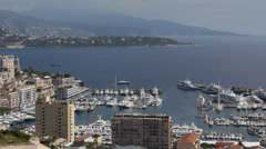 Aerial Monaco Monte Carlo Skyline French Riviera Building Panorama Port Hercules Stock Footage