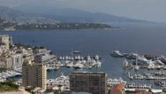 Stock Video Footage of Aerial Monaco Monte Carlo Skyline French Riviera Cote d'Azur buildings panorama