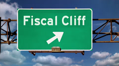 Fiscal Cliff Warning Sign 3636 - stock footage