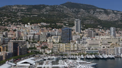 Monaco Skyline La Condamine Famous Monte Carlo Iconic Symbol French Riviera Day Stock Footage