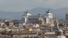 Aerial View Rome Skyline Italy Vittorio Emanuele II Altare Della Patria Sunlight Stock Footage