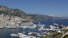 Establishing Shot Monaco Skyline Monte Carlo Port Hercules Cruise Ships Yachts Stock Footage