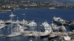 Aerial View Harbour Monaco Port Hercules Sailing Boat Cruise Ships Luxury Yachts Stock Footage