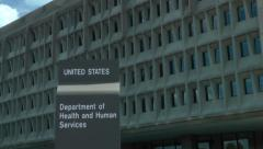 Health and Human Services building, zoom to sign - stock footage