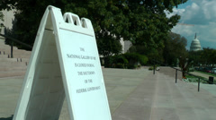 Museum closed sign, Capitol background, bec. gov't shutdown Stock Footage