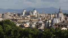 Establishing Shot Aerial View Rome Skyline Cityscape Sightseeing Iconic Landmark Stock Footage