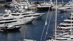 Aerial View Harbour Monaco Port Hercules Catamaran Cruiser Sailboat Cruise Ships Stock Footage
