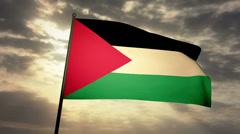 Flag Palestine 03 Stock Footage