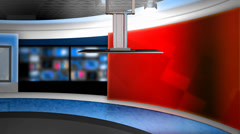 News Studio (W ALPHA) Green Screen & Chroma Key Background Stock Footage