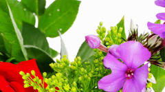 Flowers : bouquet of rose and pansy flowers Stock Footage