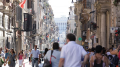 Rome Via Del Corso Shopping Street Busy Shopper Shop Famous Brands Stores Market Stock Footage