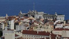 Aerial View Monaco Ville Skyline Oceanography Museum, Oceanographic Facade Day Stock Footage